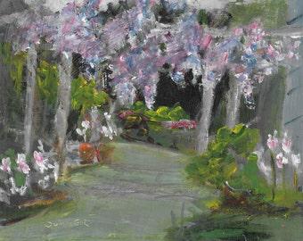 Original acrylic landscape painting 8x10 Wisteria Willowood Arboretum