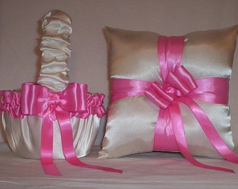 Ivory Cream Satin With Hot Pink Ribbon  Flower Girl Basket And Ring Bearer Pillow