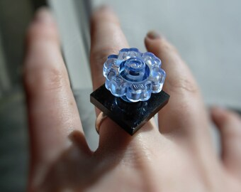 Summer Child: Flower LEGO Ring on an Adjustable Silver Plated Band