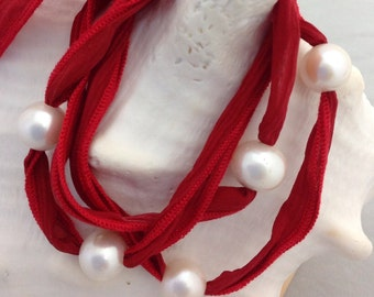 Freshwater PEARLS Red Silk RIBBON Bracelet/Necklace