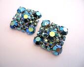 Vintage Rhinestone Earrings - Blue Ab Rhinestone Earrings