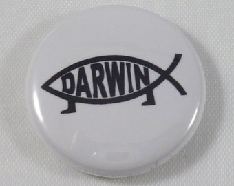 Darwin, evolution 1 inch pinback button badge or magnet