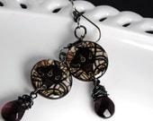 black lily earrings, flora , plum, dark green , gunmetal ,goth , darkside resin jewelry