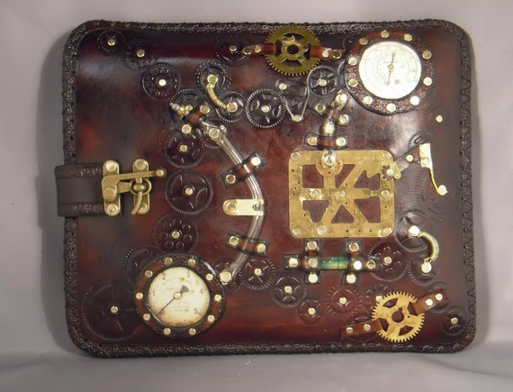 Steampunk leather case - Ipad - Netbook
