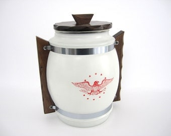 Vintage Siesta Ware Cookie Jar Glass Snack Storage Patriotic Eagle Red White