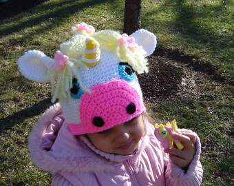 PDF Instant Download easy Crochet PATTERN No 275 Unicorn Hat  All sizes from newborn to Adult