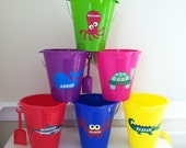 Personalized Shark, Crab, Octopus, Turtle Pails, Personalized Beach/Sand Play, Party Favor, Vacation, Gift pail, Preppy