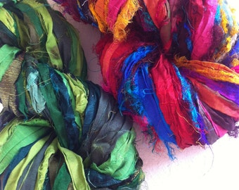 Sari silk ribbon, 2 x 50 grams, craft ribbon, sari yarn, Eco Friendly Yarn, jewelry making and arts and crafts, knitting yarn