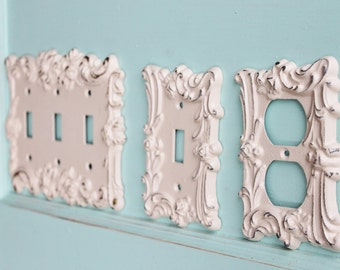 set of 3 metal light switch cover wall plate roses decorative home - Decorative Light Switch Covers