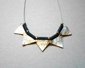 Geometric Necklace- Necklace, Leather, Silver, Gift Idea