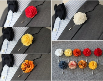 Carnation mens wedding boutonniere, lapel pin stick, hat pin, embellishment, brooch pin, button back, groomsmens lapel pin, BIG