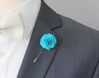Turquoise Carnation boutonniere, mens lapel flower pin, wedding boutonniere, flower lapel pin, valentines day gift