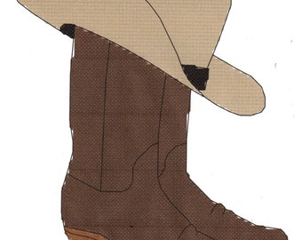 Western Cowboy Boots and Hat counted Cross Stitch Pattern