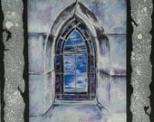 Oakland Cemetery Stained Glass Window Print with Hand Painted Cardboard Mat LARGE VERSION