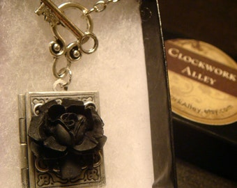Black Rose Vintage Style Book locket Necklace with Key- Great Valentine Gift (1577)