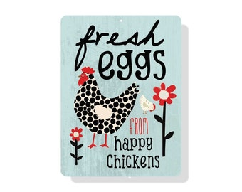 """Fresh Eggs from Happy Chickens Sign 9"""" X 12"""" Mineral Blue"""