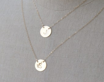 Personalized Gold LARGE Disc Necklace, Celebrity Inspired Initial Disc Necklace, Initial Personalize Jewelry, Sterling Silver Layered Jewely