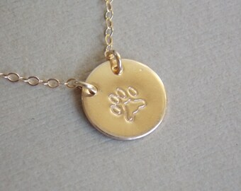Paw Print Necklace, Pet Lovers Necklace, 14k Gold Filled or Sterling Silver Design Stamp Disc Necklace, Personalized Jewelry, Animal Lovers