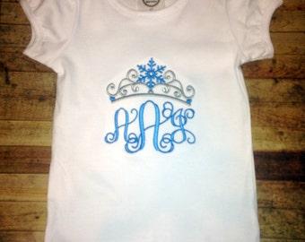 Frozen Inspired Crown with Monogram Shirt