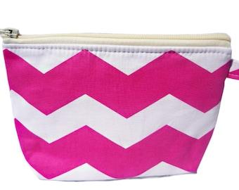 Chevron Pink and White Print Makeup Bag