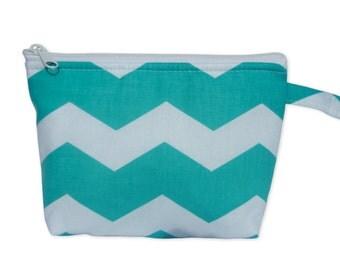 Turquoise Chevron Print Makeup Bag