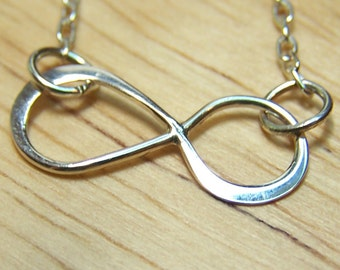 Sterling Silver Infinity Necklace, Silver, Graduation, Love, Eternity, Simple, Infinite, Figure Eight, Friendship, Bridesmaids, Wedding