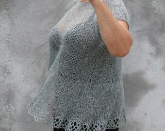 hand knitted, gray, linen, transparent tunic XL / XXL