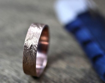Crash Ring - Men's Wedding Band 6mm Wide Rugged Rough 14k Recycled Hand Carved Rose Gold Ring - Made in Your Size