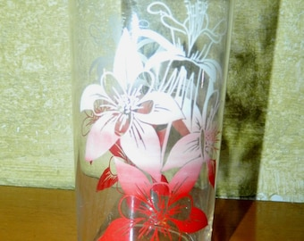 Vintage Jelly Glass Hawaiian Hibiscus Red and White Drinking Glass