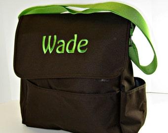 Brown and Green Diaper Bag