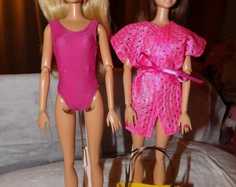 Pink swimsuit, pink cover-up and yellow tote bag set for Fashion Dolls - ed595