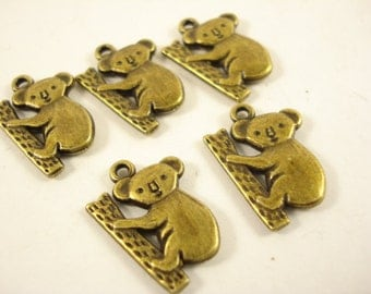8 Antiqued Bronze Koala Charm Pendant 20x14mm B-1089