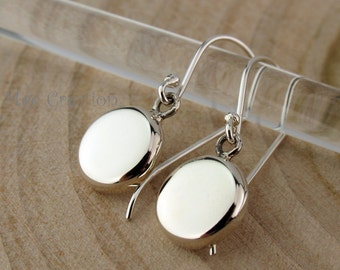 EE925010201) Round Coin shape, 925 Sterling Silver Earrings
