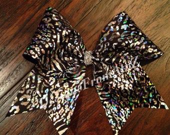 Black and Silver Cheetah Print Cheer Bow