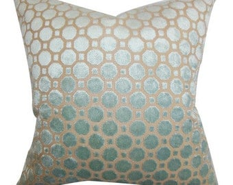 Pillow Cover Cushion 20x20 raised velvet in blue on mineral  geometric pattern  , other sizes and colors available,