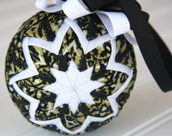 Green, Black and White Quilted Ornament Ball - Citron Chic