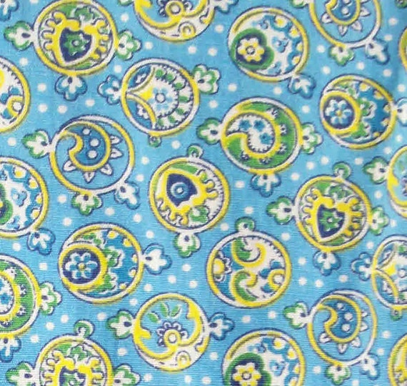 Vintage 1950s Fabric Paisley - Esqe Kitchen Blue Green Yellow Yardage