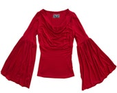 Red top women/bell sleeve blouse/drape boat neck