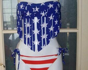 American flag fringe bandeau top 2 piece bikini fringe top with tie side bottom