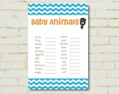 Baby Animals Game - matches our Baby Owls Invitation - Baby Shower, Birthday