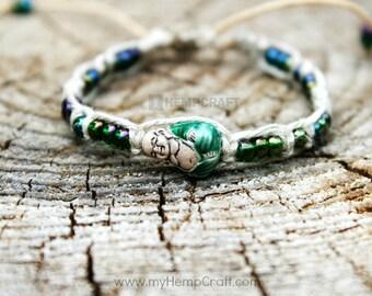Hemp Bracelet with Buddha Bead, Emerald Green Adjustable Hemp Bracelet