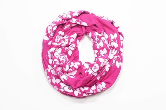 INFINITY SCARF - Screen Printed - White Maui Flowers on Pink