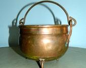 vintage COPPER cauldron bowl antique patina swing handle decor