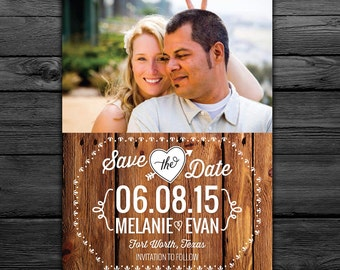 25 Rustic Save the Date Magnets, Cards, printable digital file customized with your photo -- Free customization in any color
