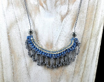 Crochet Silver Fringe Necklace With Pyrite