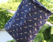 Hanging Organization or Clothespin Bag - Lined Birds in Circles on Navy Fabric by Pink Tag