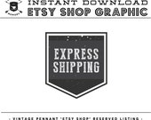 INSTANT Download - Vintage Pennant EXPRESS SHIPPING Listing Image for Etsy Seller's Shop Marketing