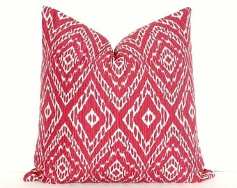 Ikat strie Modern Decorative Designer Pillow Cover 18 red White diamonds Throw Cushion holiday christmas geometric boho crimson scarlet