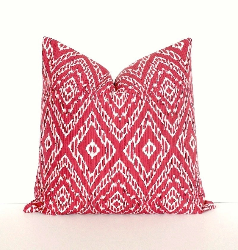 Ikat strie Modern Decorative Designer Pillow Cover 18 red