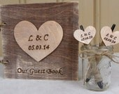 Rustic Wedding Guest Book / Pen Set with Cute Mason Jar Holder